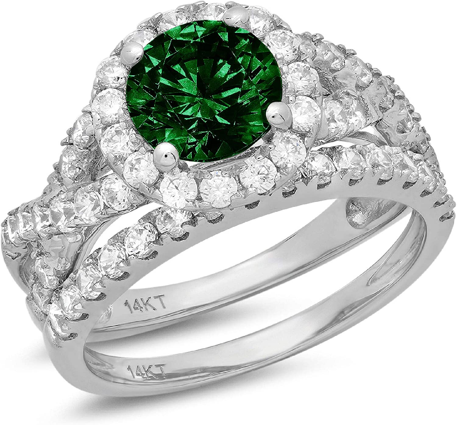 2.5 ct Round Cut Halo Split Shank Solitaire with Accent Genuine Flawless Simulated Emerald Designer Statement Classic Engagement Bridal Ring Band wedding Set Solid 18K White Gold