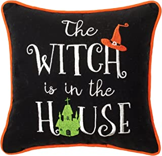 C&F Home The Witch is in The House Halloween Embroidered Saying Decorative Accent Pillow 10 x 10 Black, Orange & Green