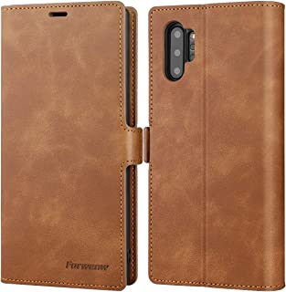 """Galaxy Note 10 Plus Wallet Case Premium Leather Note 10+ Plus Folio Flip Case with Kickstand Card Holder Slots Screen Protector Shockproof Protective Cover for Samsung Galaxy Note 10 Plus 6.8"""" (Brown)"""