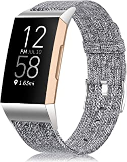Maledan Bands Compatible with Charge 4/Charge 3/Charge 3 SE Fitness Activity Tracker for Women Men, Breathable Woven Fabric Replacement Accessory Strap, Light Grey, Small