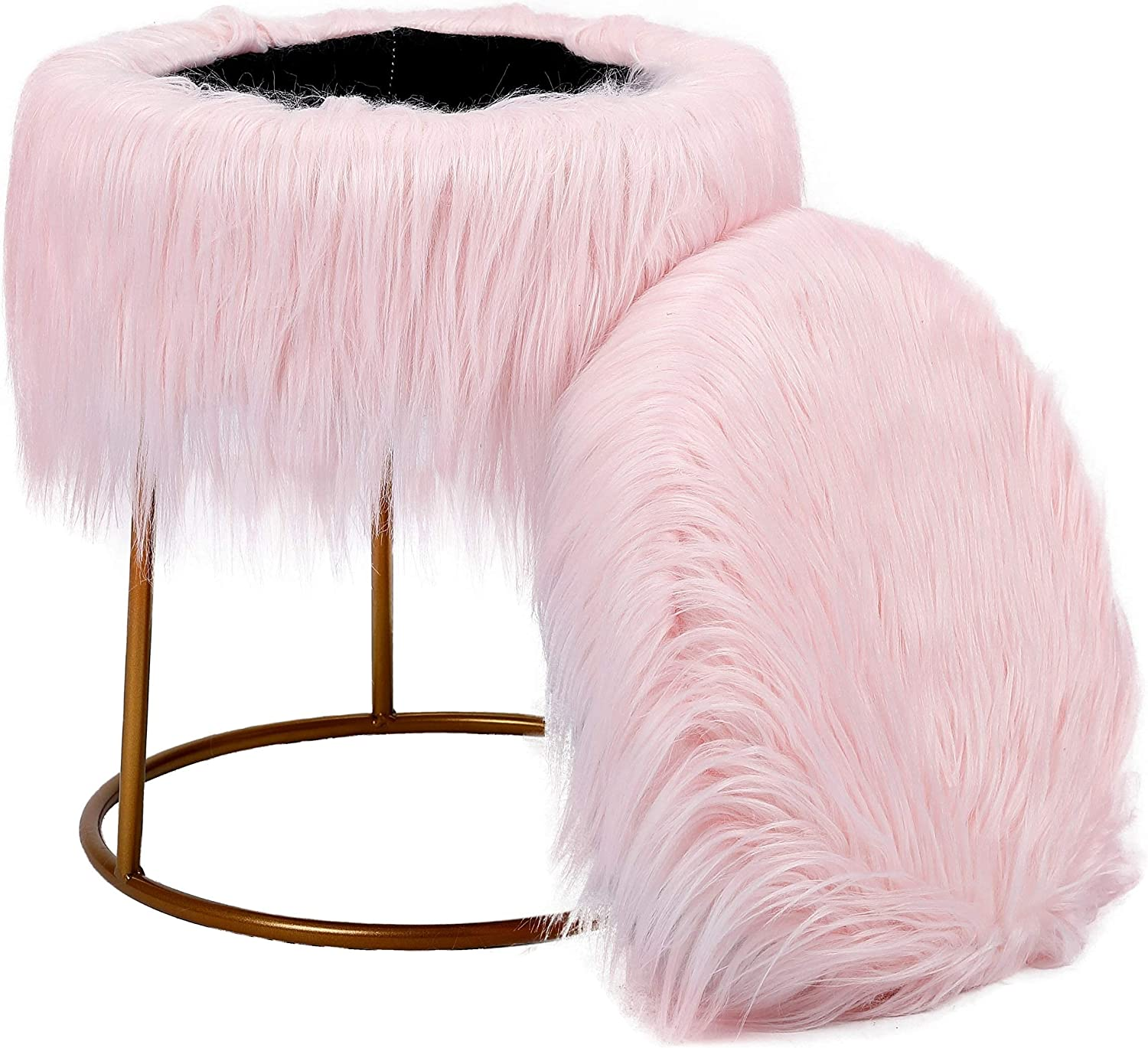 BirdRock Home Round Pink 40% OFF Cheap Sale Faux Fur Foot Max 72% OFF Ottoman Storage wit Stool