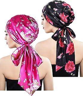 Blulu 2 Pieces Soft Satin Head Scarf Sleeping Cap Bonnet Headwear Head Cover Turbans for Women (Set 2)