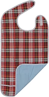 Modaliv Adult Bib - Reusable Clothing Protector - Waterproof - Crumb Catcher - Machine Washable (Red)