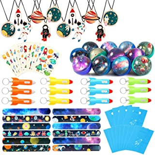 Lorfancy Outer Space Party Favors Supplies Space Toys, Slap Bracelets Tattoo Stickers Bouncy Ball Helicopter Keychains Spa...