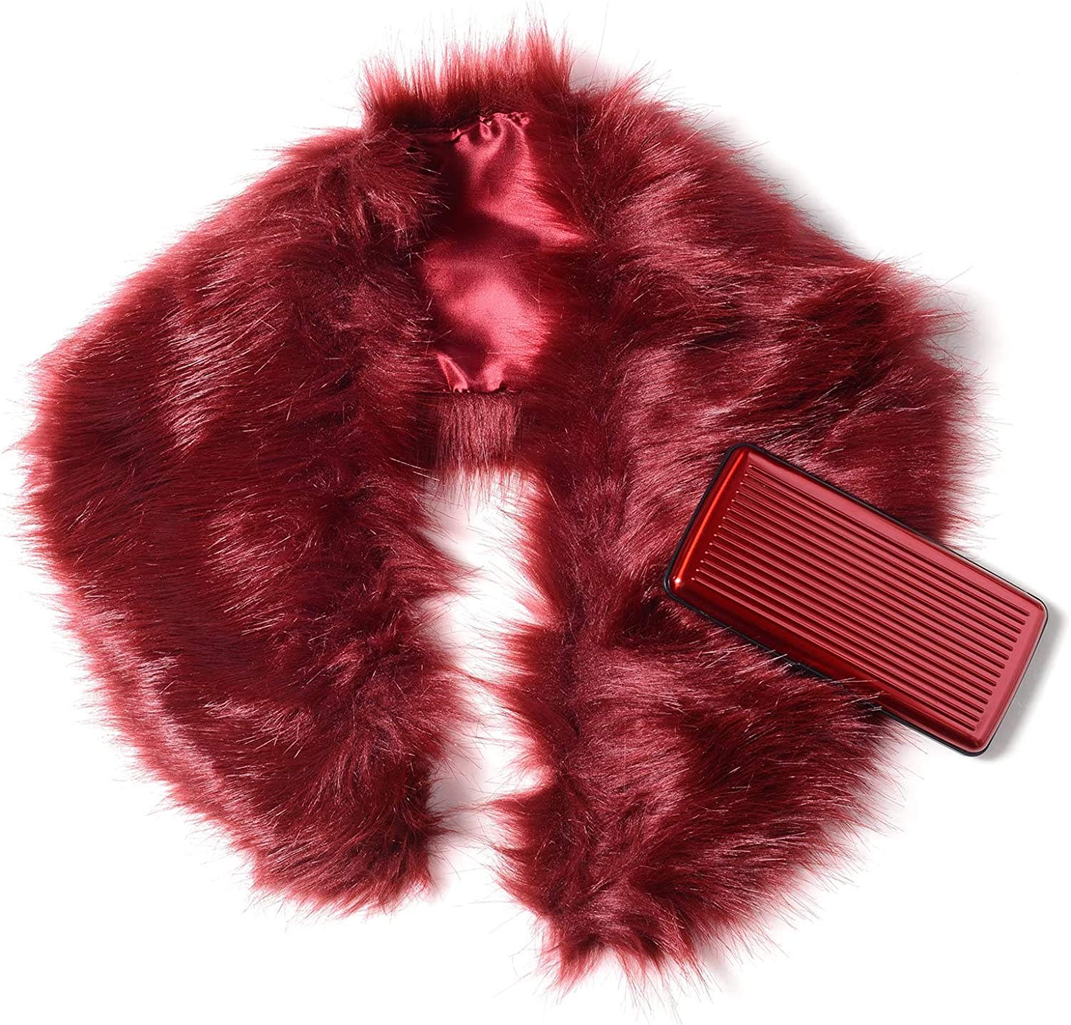 Wine Red Faux Fur Lightweight Scarf Wrap Hijabs For Women 33.86x5.5