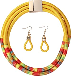 caiyao Handmade Multilayer Tribal Choker Necklace Earrings Set Colorful Rope Weave African Necklaces Woven Chunky Statemen...