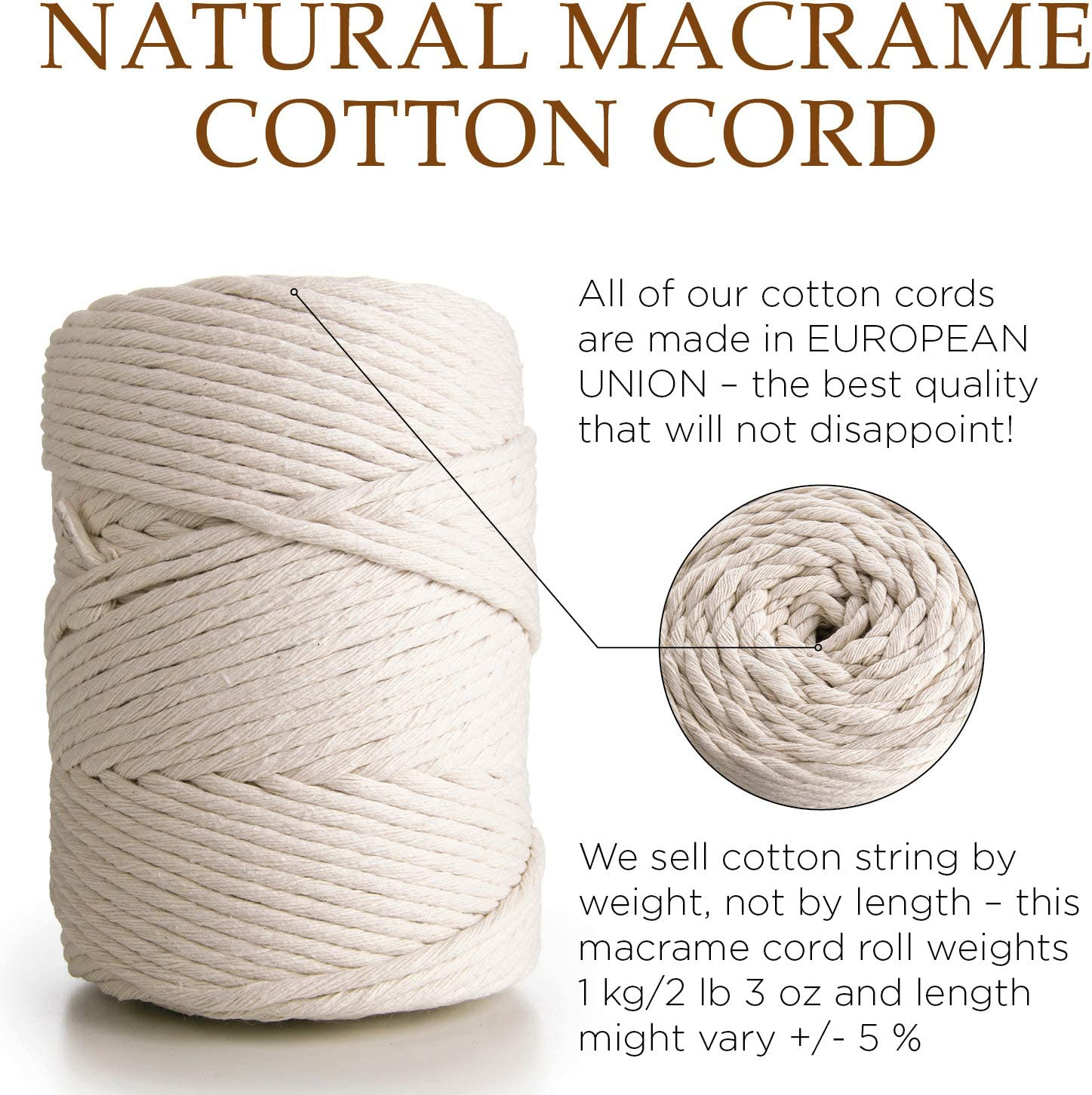 MB Cordas Macrame Cord 3mm Cotton Cord 140 m Single Strand Cotton Rope for DIY Projects
