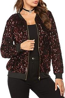 Chigant Women's Sequin Jacket Long Sleeve Zipper Front Jackets Sparkle Bomber Coat Blazer