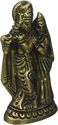 Gangesindia Brass Radha Krishna Miniature Statue (5.08 cm,2.54 cm, 10.16 cm)