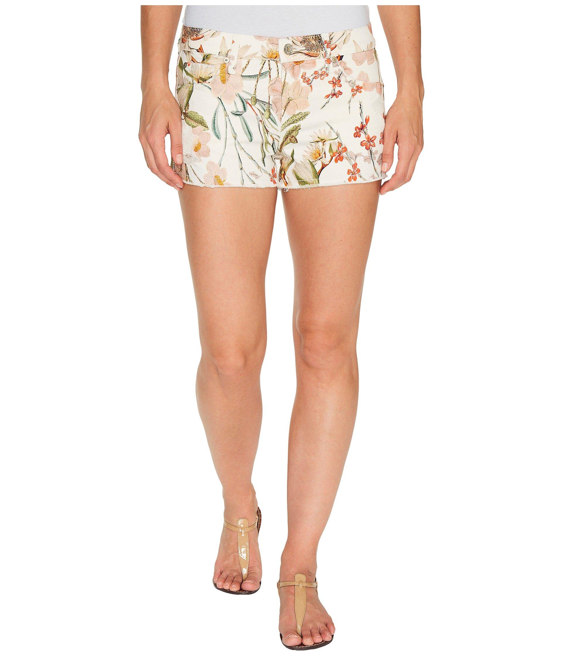 Cut Off Shorts W/ Side Splits & Light Destroy In Tropical Print 2, Tropical Print 2