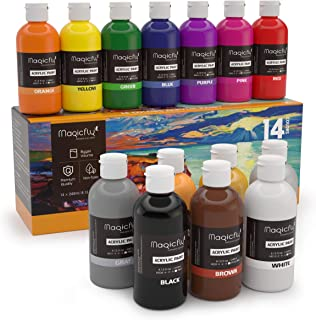 Magicfly Acrylic Paint, 14 Rich Pigments Colors (240 ml/8.12 fl oz.), Non-Fading, Non-Toxic Craft Paints for Painting on Canvas, Ideal for Kids, Artist & Hobby Painters