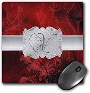 3dRose Letter V, Lavish Red Leaf Print with Silver Frame - Mouse Pad, 8 by 8 inches (mp_212812_1)