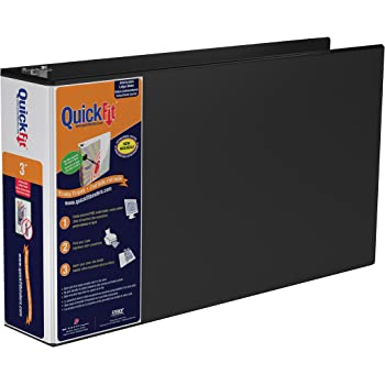 QuickFit Heavy Duty 11 x 17 Inch Landscape Spreadsheet View Binder, 3 Inch, Locking Angle D Ring, Black (94051)
