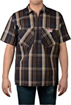 Ben Davis Men's Short Sleeve Plaid Half-Zip Work Shirt