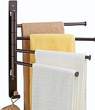 4-Arm Swivel Towel Rack, Wall Mounted Towel Bars Swing Out Oil Rubbed Bronze Towel Racks for Bathroom Holder