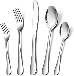 Homikit 60-Piece Silverware Flatware Set for 12, Stainless Steel Eating Utensils Cutlery Includes Knives/Spoons/Forks, Tab...