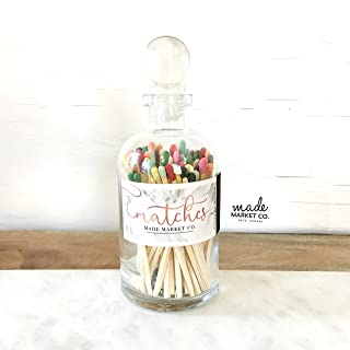Variety Tip Colored Matches. Match Sticks Ball Glass Top Bottle. Farmhouse Home Decor. Unique Gifts for her. Best Seller Most Popular Item