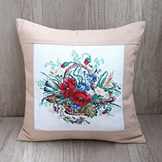 Poppy Pillow Cover Handmade Home Decor Summer Field Red Poppies Nature Hand Embroidered Decorative Cushion Case
