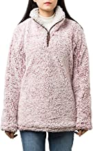 PAAZA Women's Long Sleeve Fuzzy Frosty Pile Tipped Quarter-Zip Sherpa Fleece Sweatshirt Pullover Jacket Coat