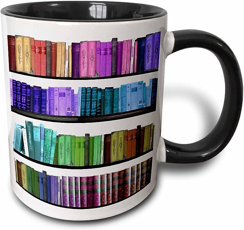 3dRose Colorful Bookshelf Books Rainbow Bookshelves Reading Book Geek Library Nerd Librarian Author Two Tone Black Mug 11 Oz Black White
