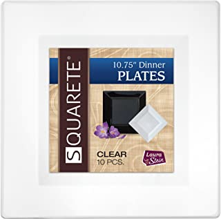 Squarete 10.75'' inch Clear Dinner Square Party Plates Hard Plastic Elegant Disposable Heavy Duty. 10 Square Dinner Plates Per Package Pack of 2