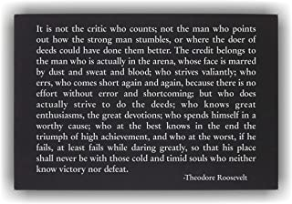 Lazer Designs Theodore Roosevelt Man in The Arena Wall Art Plaque Inspirational Quote Black & Silver