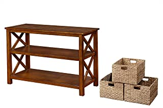 eHemco X Side Console Sofa Table with 2 Shelves and 3 Baskets