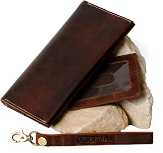 Genuine Mountain Goat Leather Long Bifold Wallet with Wrist Strap - Blocking RFID for Men & Women by OLDCRAFTER