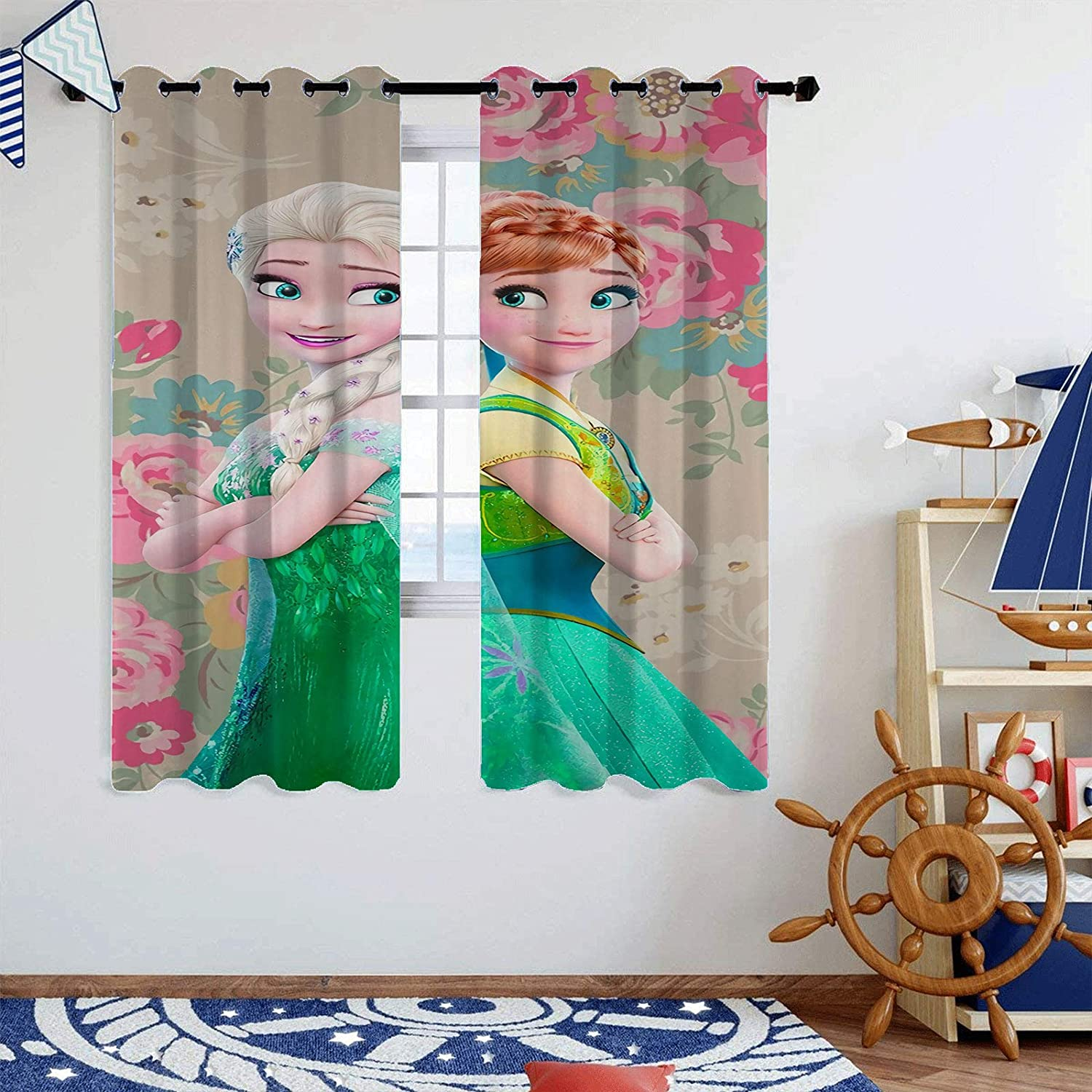 SSKJTC Curtains for Living Room Frozen 2 Elsa and Anna Window Treatment for Living Room W42 x L45