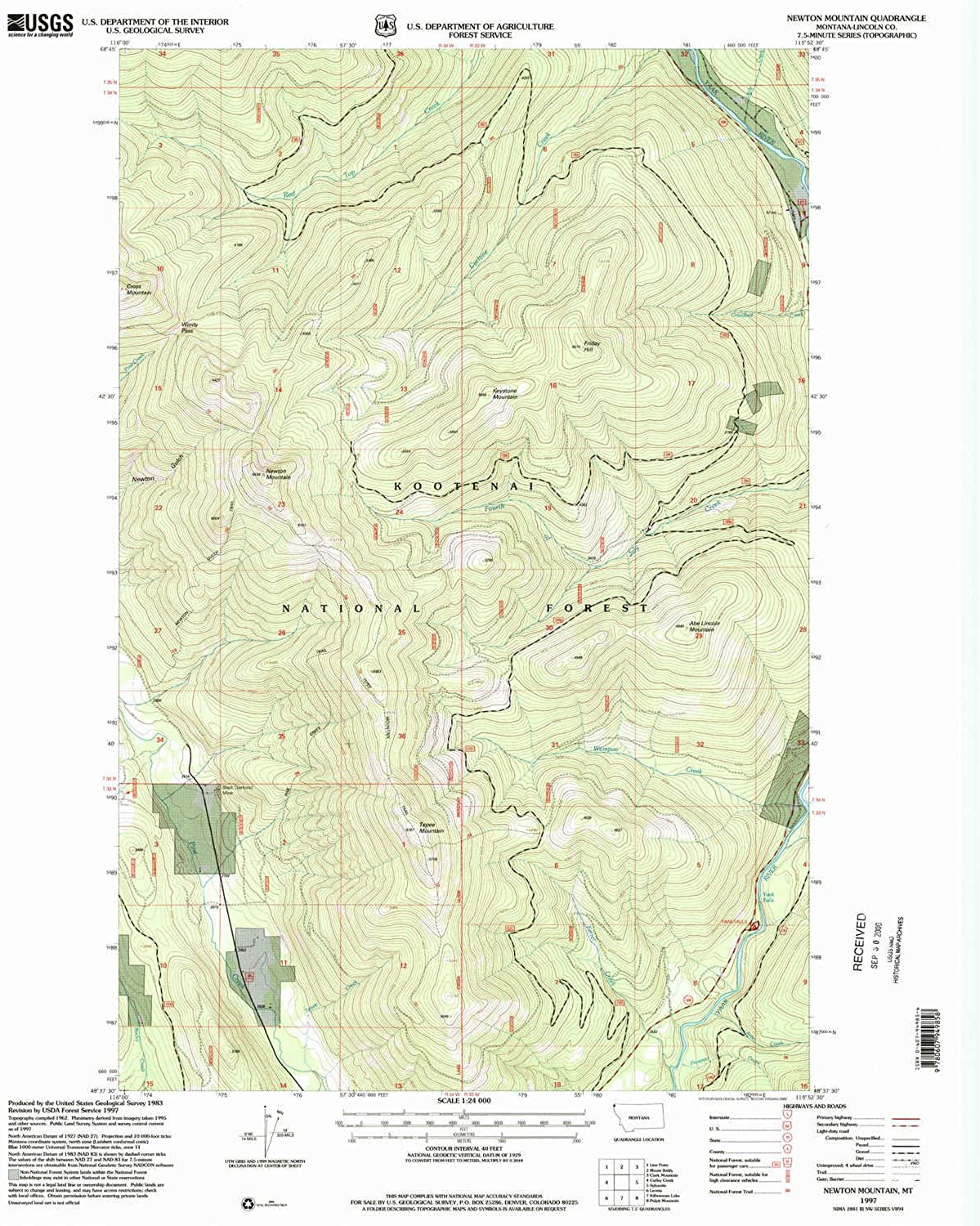 Newton Mountain MT topo map, 1 24000 Scale, 7.5 X 7.5 Minute, Historical, 1997, Updated 2000, 27.1 x 22.2 in