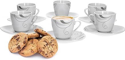 Preisvergleich für Van Well Portofino 6er Set Espressotasse + Untertasse, Espresso-Set, Liniendekor, edles Marken-Porzellan