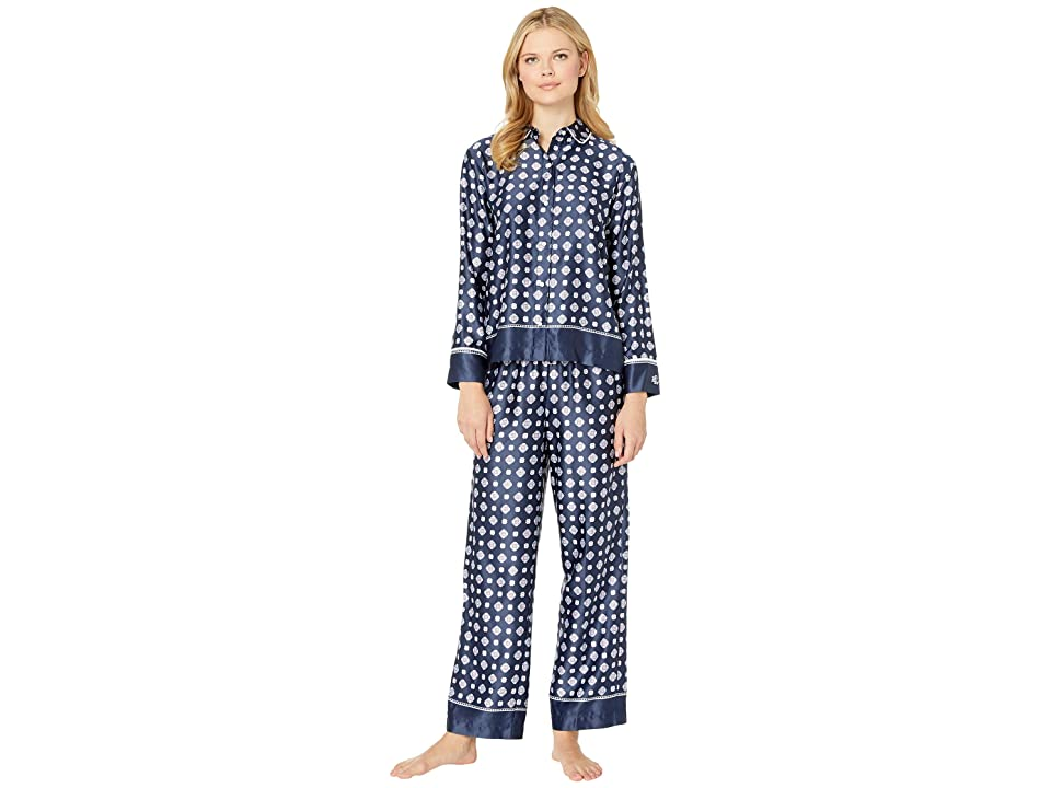 LAUREN Ralph Lauren Satin Rounded Collar Pajama Set (Navy Print) Women