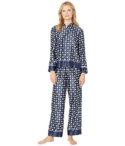 LAUREN Ralph Lauren Satin Rounded Collar Pajama Set (Navy Print) Women