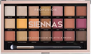 Profusion Cosmetics 21 Shade Eyeshadow Palette Collection & Brush, Siennas