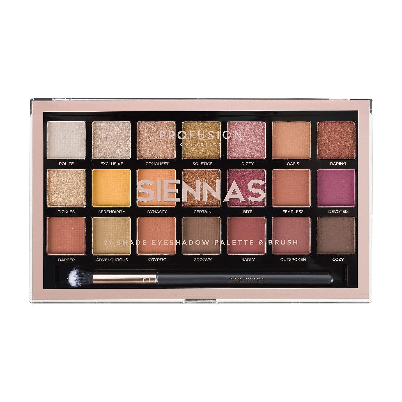 メンタリティブース販売員Profusion Cosmetics 21シェードアイシャドーパレットコレクション&ブラシ, Siennas