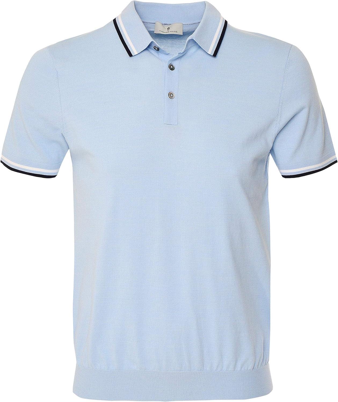 Thomas Maine Men's Pima Cotton Twin Blue Shirt Polo Jacksonville Mall 2021 new Tipped