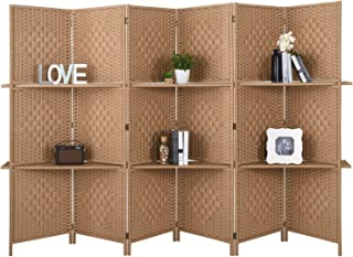 RHF 6 ft.Tall-Extra Wide Diamond Weave Fiber 6 Panels Room Divider,6 Panel Folding Screen Privacy, Partition Wall, Room Dividers with 2 Display Shelves,Natural-6 Panel, 2 Shelves