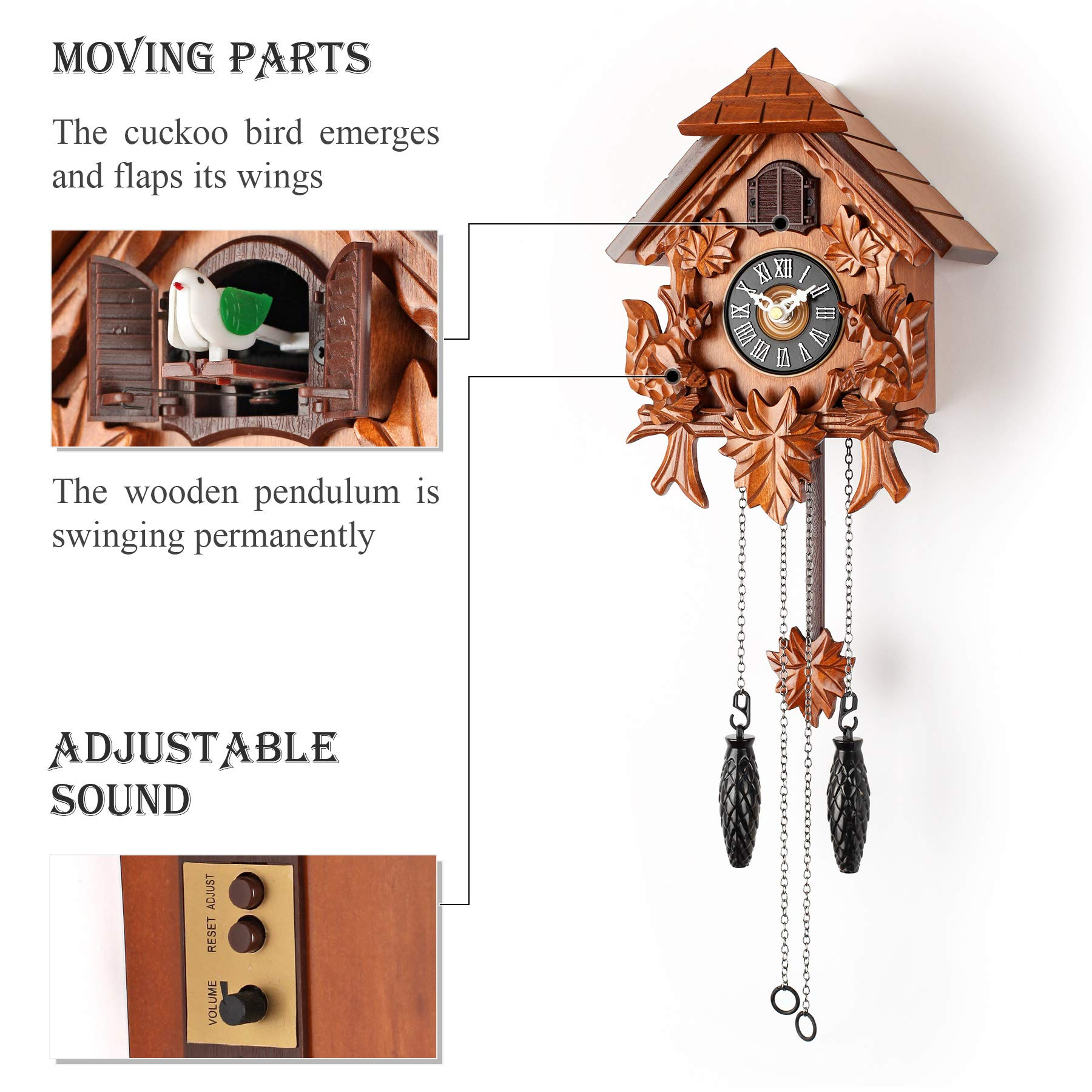 Polaris Clocks Cuckoo Wall Clock with Night Mode in Traditional German Style with Carved Squirrels Cherry