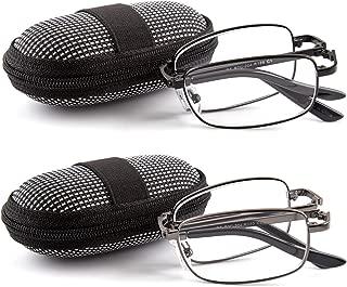 DOUBLETAKE Reading Glasses - 2 Pairs Readers with Belt Loop Zip Case