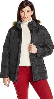 Women's Plus-Size Down Jacket with Removable Faux Fur Trim Hood