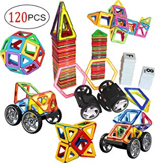 dreambuilderToy 120 PCS Creative Magnetic Building Blocks Set, Magnetic Tiles STEM Preschool Educational Construction Kit(120 PC Set)