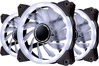 EZDIY-FAB Ventilador de Anillo LED de 120mm,Ventilador de Caja LED,Refrigerador de CPU y Radiadores,Blanco 3 Pin 3 Pack