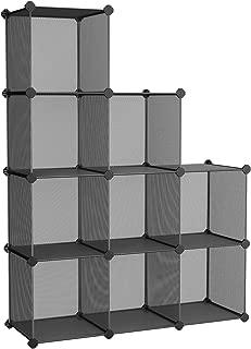 "SONGMICS 9-Cube Metal Mesh Storage Cube, Storage Shelves Organizer, Modular Bookcase, DIY Closet Cabinet Shelf for Books, Plant, Toys, Shoes, Clothes 36.6""L x 12.2""W x 48.4""H, Black ULPL115H"