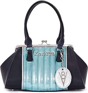 V8 Kiss Lock Handbag Black Matte/Mermaid Blue Sparkle