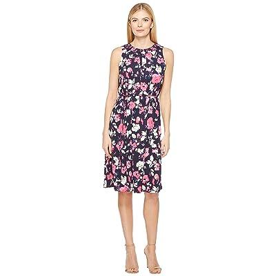 Ellen Tracy Smocked Self-Tie Dress (Artisan Floral Tulip) Women