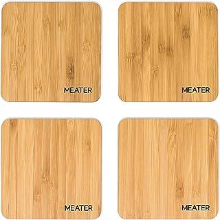 MEATER Sottobicchieri di bambù Naturale Set di 4 Eleganti sottobicchieri ecologici al 100% per Birra, caffè, Martini e Vino