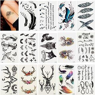 60 Blätter Temporäre Tattoos zum Aufkleben Auf Die Haut Wa