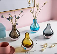 Casamotion Home Decor Accent Vase Hand Blown Art Solid Color Glass Bud Vase Set of 4 Different Color