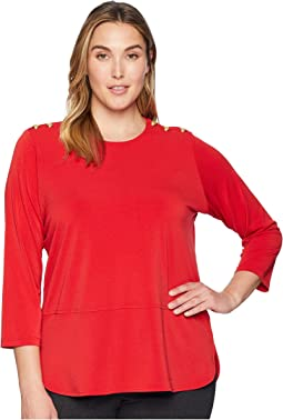 Plus Size Button-Trim Matte Jersey Top