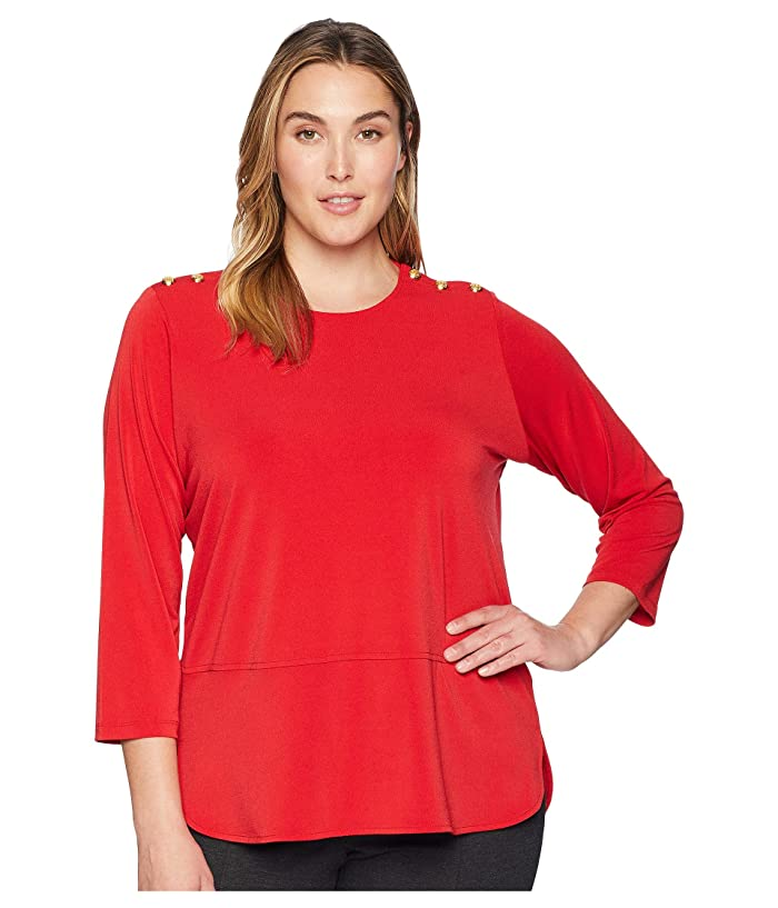 ee92d81900 LAUREN Ralph Lauren Plus Size Button-Trim Matte Jersey Top | 6pm
